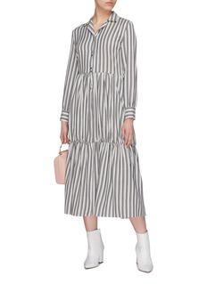 Minki Stripe tiered twill shirt dress