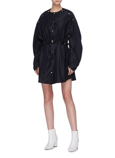 Minki Drawcord puff sleeve button dress