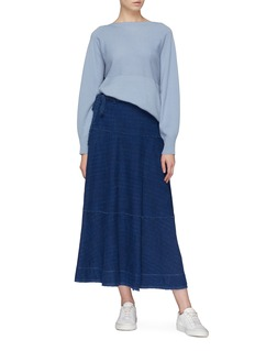 Elizabeth and James 'Leila' belted jacquard denim skirt