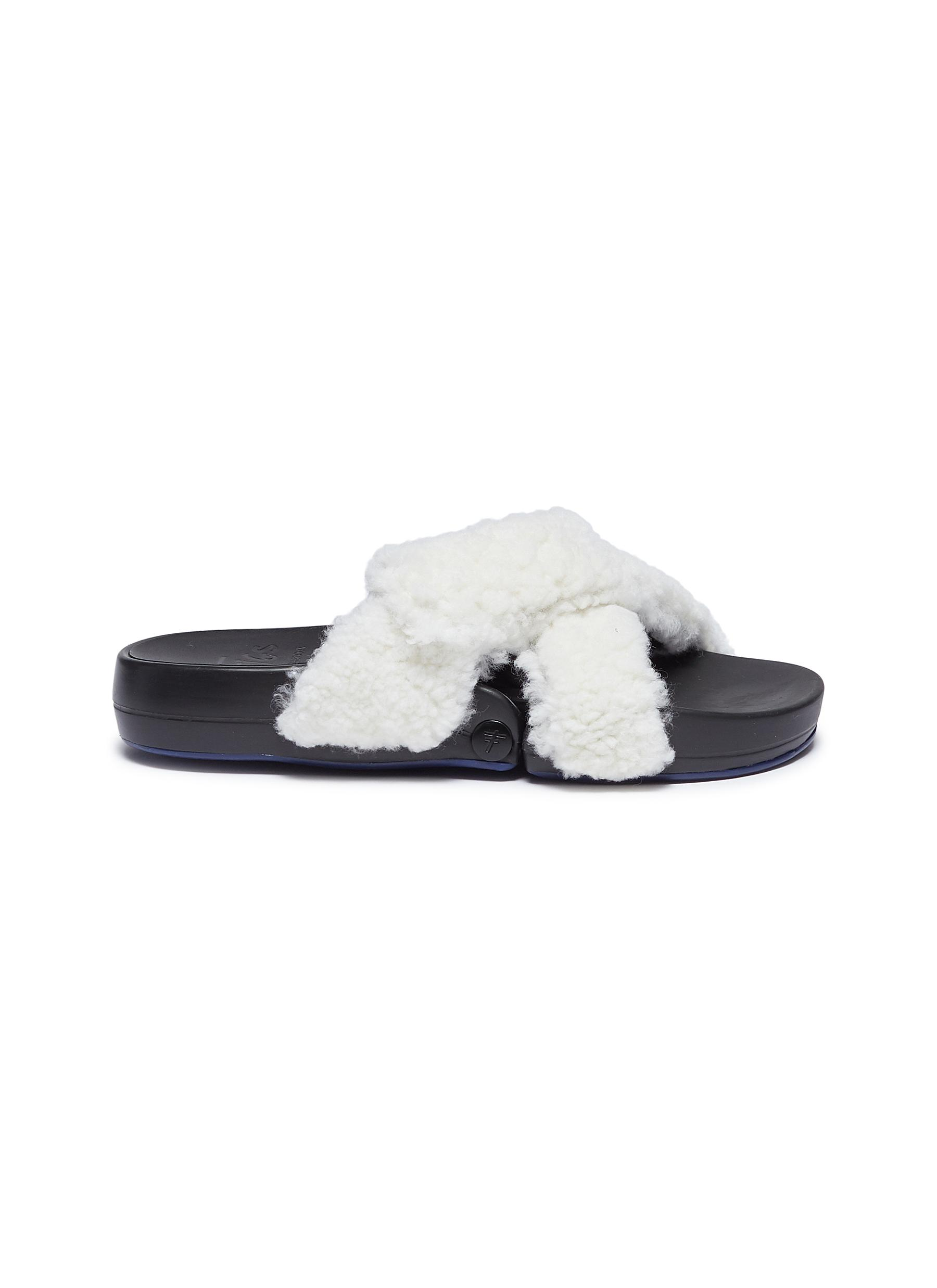 Figomatic cross strap lamb shearling slide sandals by Figs By Figueroa