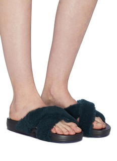 Figs By Figueroa 'Figomatic' cross strap lamb shearling slide sandals