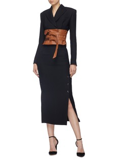 Situationist Leather corset belt wool blend blazer