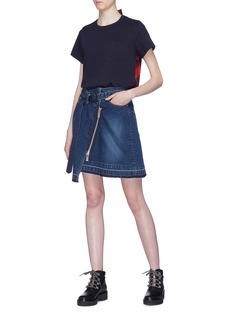 Sacai Asymmetric zip wrap denim skirt