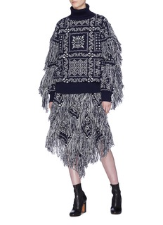 Sacai x Reyn Spooner fringe floral intarsia wool sweater