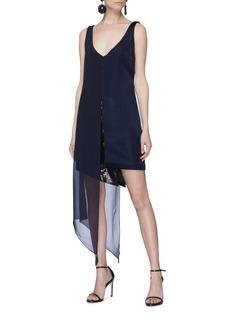 Galvan London 'Serpentine' sequin chiffon overlay asymmetric dress