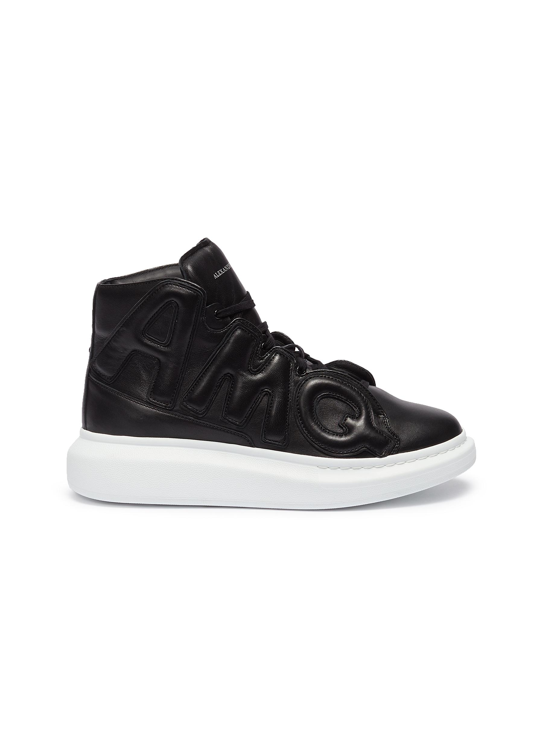 Photo of Oversized outsole logo panel leather high top sneakers by Alexander McQueen womens shoes - buy Alexander McQueen footwear online