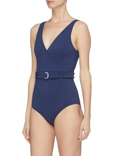 Lisa Marie Fernandez 'Yasmin' belted seersucker one-piece swimsuit
