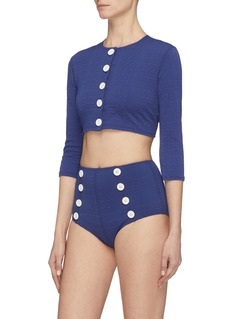 Lisa Marie Fernandez Button seersucker cropped cardigan