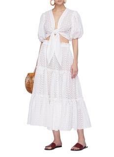 Lisa Marie Fernandez Ruffle tiered broderie anglaise skirt