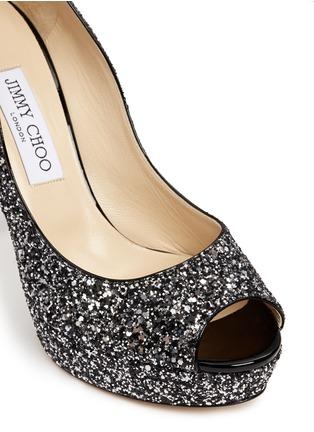 Detail View - Click To Enlarge - Jimmy Choo - 'Dahlia' gradient heel glitter peep toe pumps