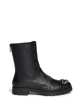 Main View - Click To Enlarge - Jimmy Choo - 'Hatcher' crystal toe leather combat boots
