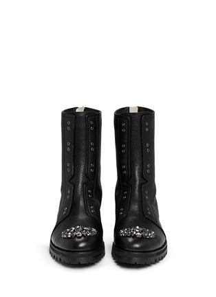 Figure View - Click To Enlarge - Jimmy Choo - 'Hatcher' crystal toe leather combat boots