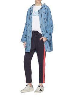 Etre Cecile  Star embroidered oversized hooded denim parka