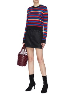 Etre Cecile  French bulldog embroidered stripe Merino wool blend sweater