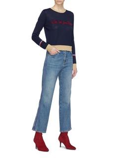 Etre Cecile  'With Love from Paris' slogan velvet flock print sweater