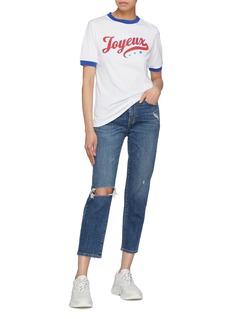 Etre Cecile  'Joyeux' slogan print ringer T-shirt