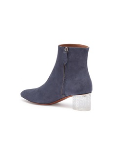 Alaïa Floral engraved clear heel suede ankle boots