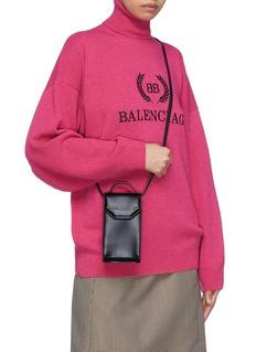 Balenciaga 'Etui' logo embossed leather phone crossbody bag
