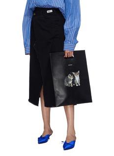 Balenciaga Kitten print small leather shopping bag