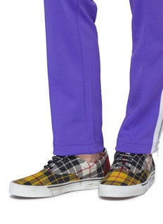Palm Angels 'Distressed Tartan' colourblock patchwork twill sneakers