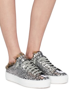 P448 Faux fur trim metallic fish scale embossed leather sneakers