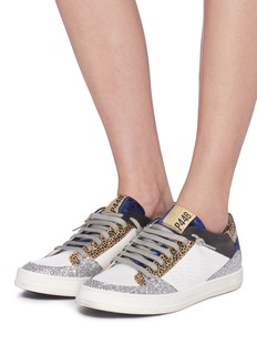P448 Mix panel perforated leather sneakers