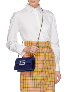 Gucci 'Broadway' glass crystal logo velvet crossbody bag