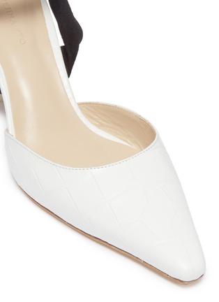 Detail View - Click To Enlarge - Rejina Pyo - 'Barbara' sculptural heel suede ankle tie leather pumps