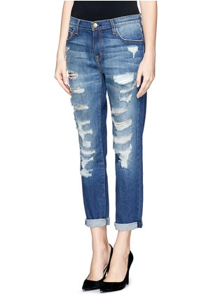 Front View - Click To Enlarge - CURRENT/ELLIOTT - 'The Fling' ripped slim boyfriend jeans