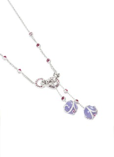 Samuel Kung Diamond sapphire jade 18k white gold necklace