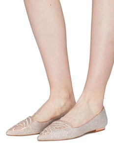 Sophia Webster 'Bibi Butterfly' embroidered glitter flats