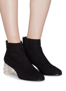 Sophia Webster 'Stella' faux pearl glass crystal heel suede ankle boots