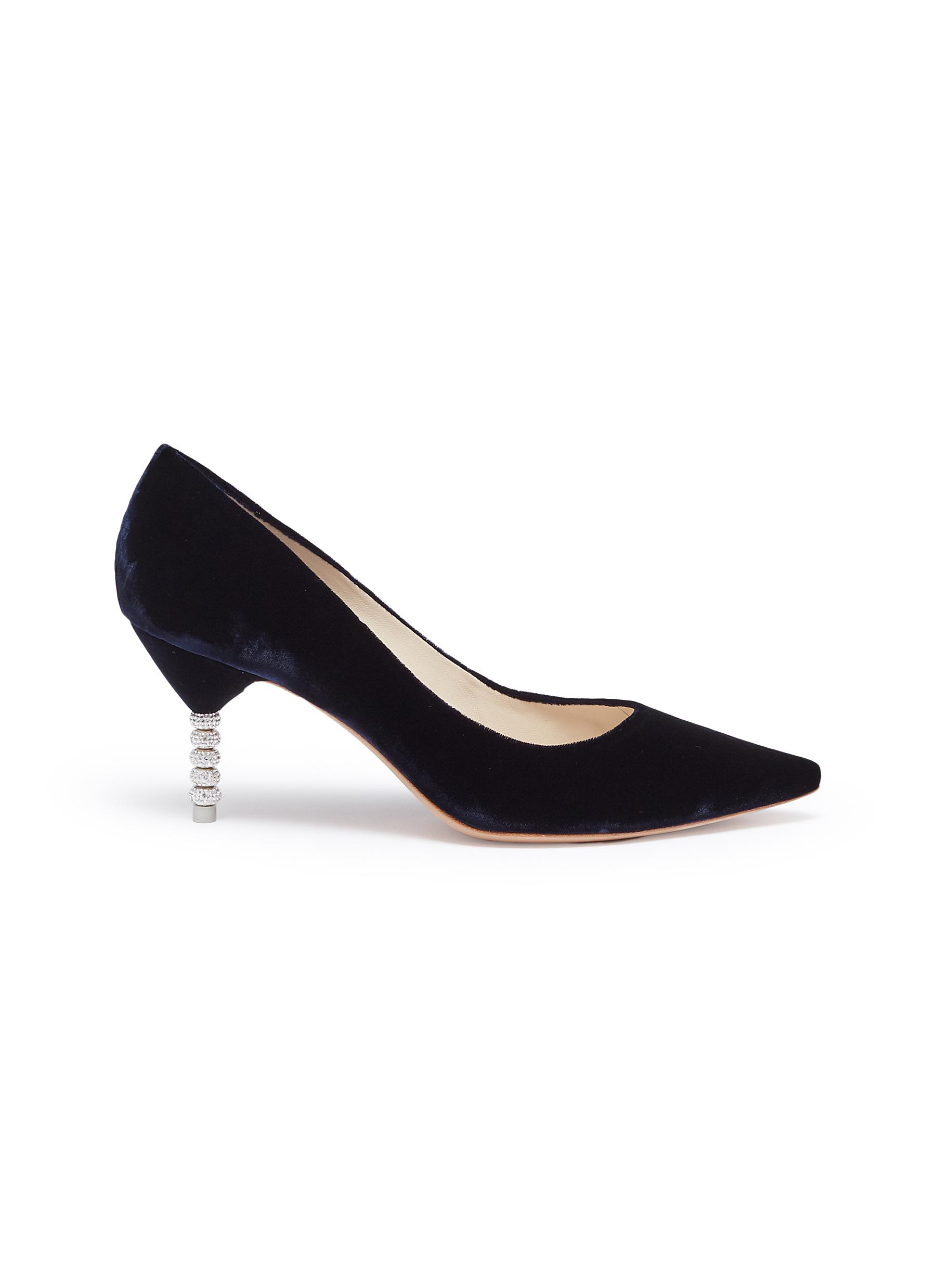 Coco crystal pavé bead heel velvet pumps by Sophia Webster