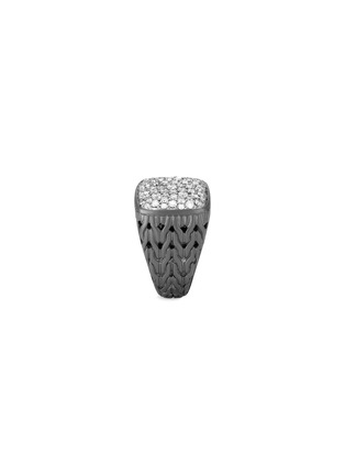 Detail View - Click To Enlarge - JOHN HARDY - 'Classic Chain' diamond rhodium silver signet ring