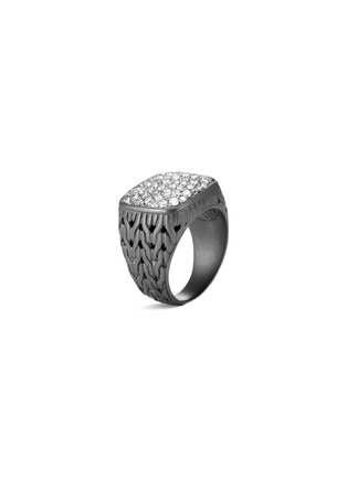 Main View - Click To Enlarge - JOHN HARDY - 'Classic Chain' diamond rhodium silver signet ring