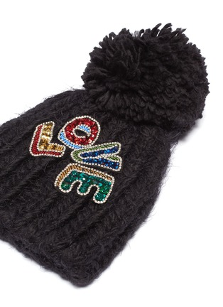 Detail View - Click To Enlarge - Venna - 'Love' embellished slogan pompom knit beanie
