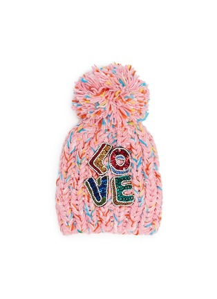 Main View - Click To Enlarge - Venna - 'Love' embellished slogan pompom knit beanie