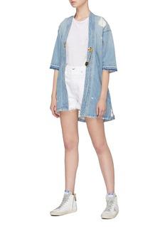 Sandrine Rose 'The Charlie' kilt pin denim kimono jacket