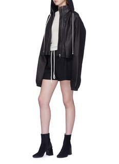 Rick Owens Retractable hood cropped leather jacket