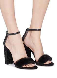 Sam Edelman 'Yaro' velour heel fur strap sandals