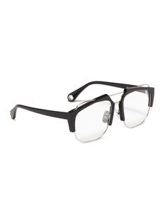 Jinnnn Metal front acetate square aviator optical glasses