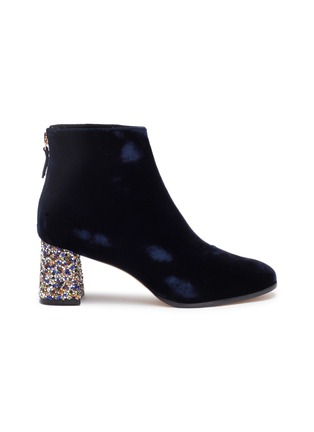 Main View - Click To Enlarge - SOPHIA WEBSTER - 'Stella' glass crystal heel velvet ankle boots