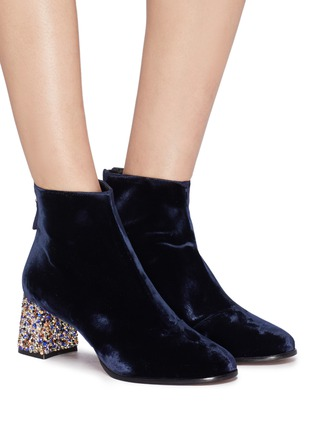 Figure View - Click To Enlarge - SOPHIA WEBSTER - 'Stella' glass crystal heel velvet ankle boots