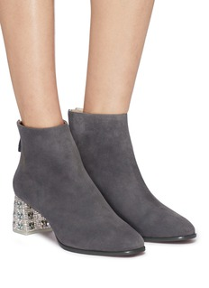 Sophia Webster 'Stella' strass glass crystal heel suede ankle boots