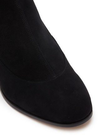Detail View - Click To Enlarge - SOPHIA WEBSTER - 'Suranne' glass crystal heel thigh high stretch suede boots