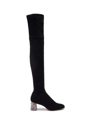 Main View - Click To Enlarge - SOPHIA WEBSTER - 'Suranne' glass crystal heel thigh high stretch suede boots
