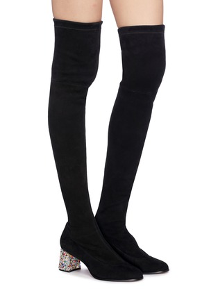 Figure View - Click To Enlarge - SOPHIA WEBSTER - 'Suranne' glass crystal heel thigh high stretch suede boots