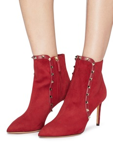 Valentino Rockstud leather trim suede ankle boots