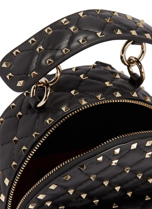Detail View - Click To Enlarge - VALENTINO - Valentino Garavani 'Rockstud' logo print mini quilted leather backpack