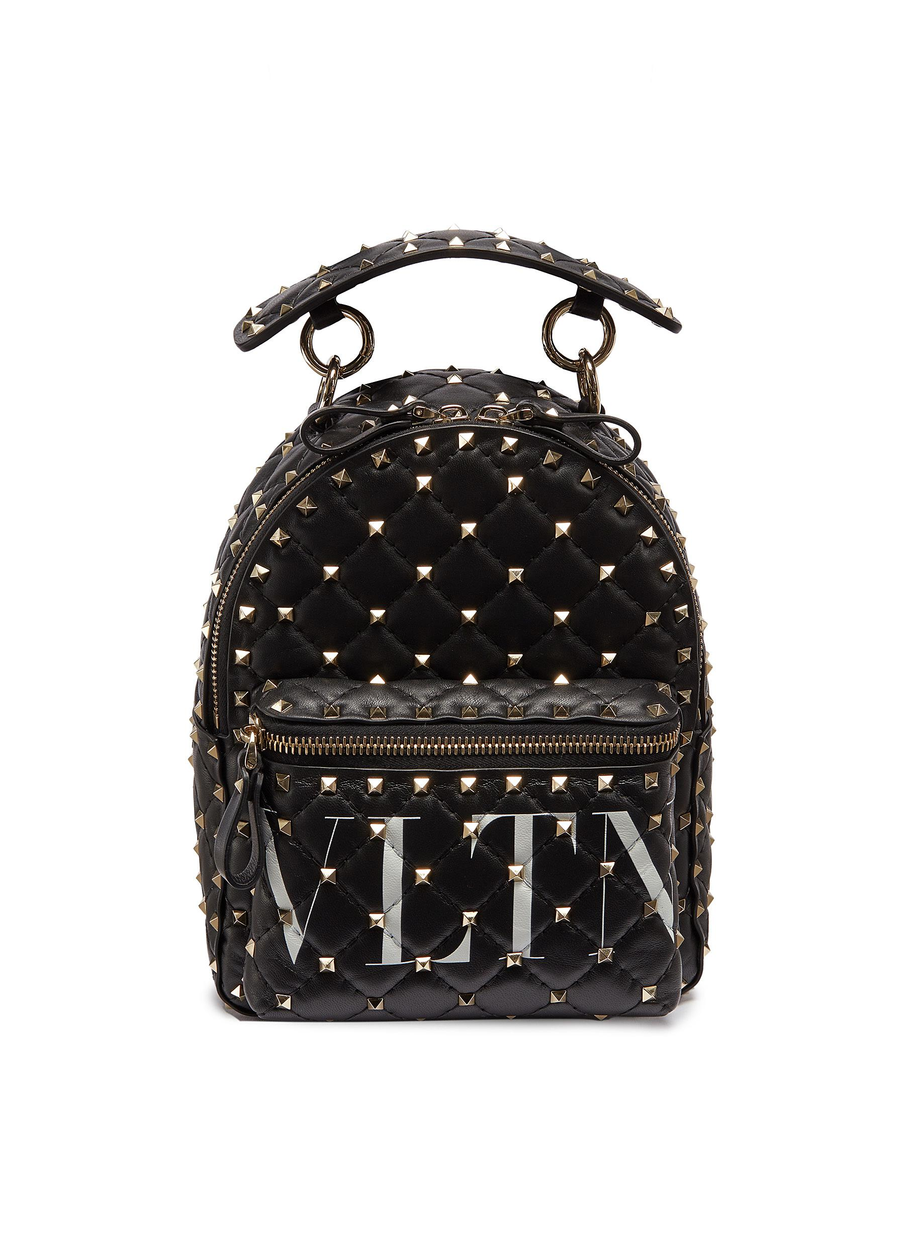 19e03b1aaf VALENTINO | 'Rockstud' logo print mini quilted leather backpack ...